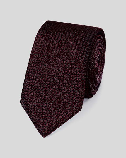 Silk Grenadine Italian Luxury Tie - Burgundy