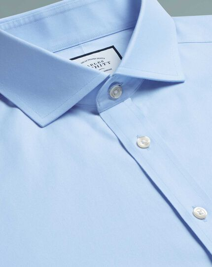 Chemise bleu ciel en twill coupe droite à col cutaway sans repassage