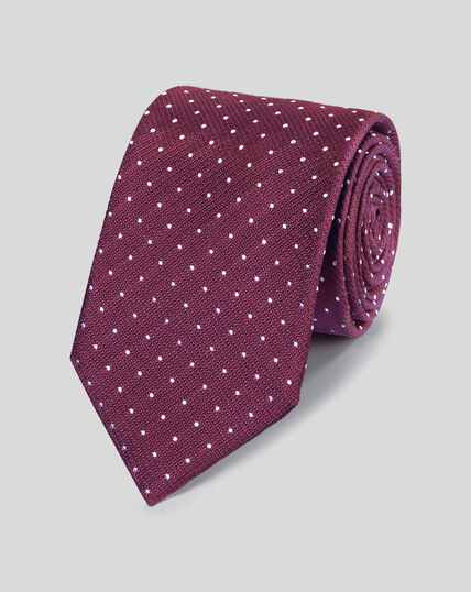 Silk Textured Spot Stain Resistant Classic Tie - Burgundy & White