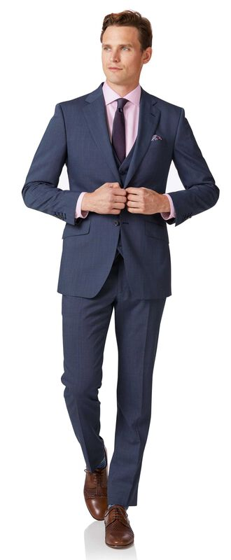 Slim Fit Anzug aus Stepweave-Gewebe in Hellblau