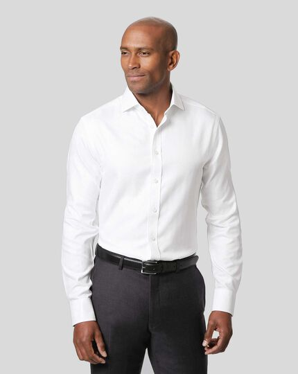 Spread Collar Non-Iron Herringbone Shirt  - White