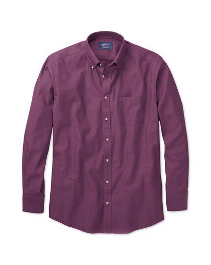 Slim fit button-down non-iron twill purple shirt