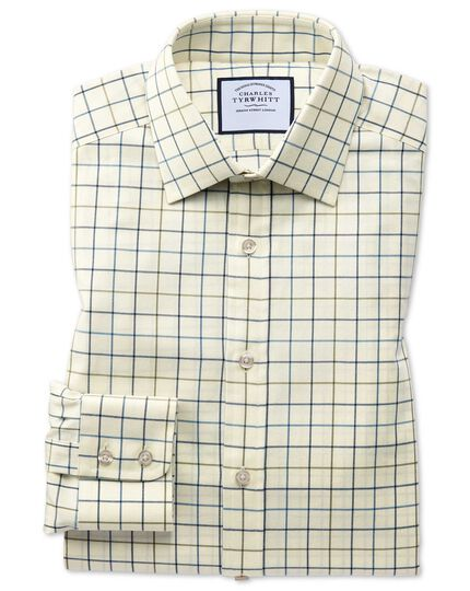 Slim fit navy and green tattersall country check shirt
