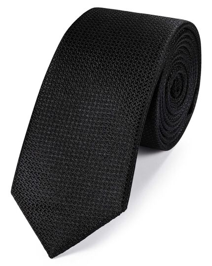 Black silk slim textured semi plain classic tie