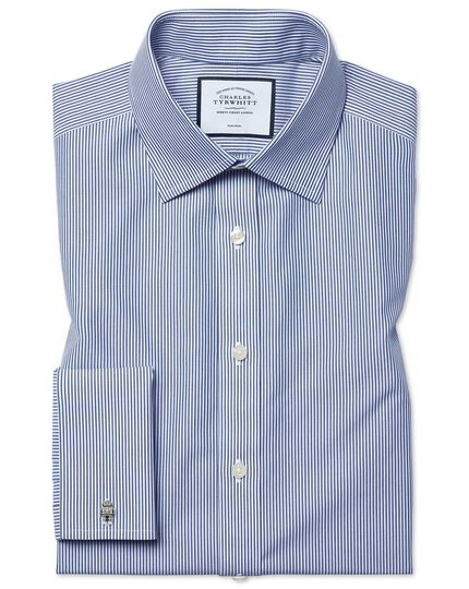 Classic fit non-iron navy Bengal stripe shirt