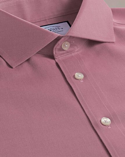 Non-Iron Twill Spread Collar Shirt - Red