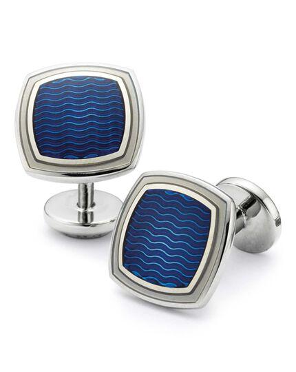 Royal wave square enamel cufflinks