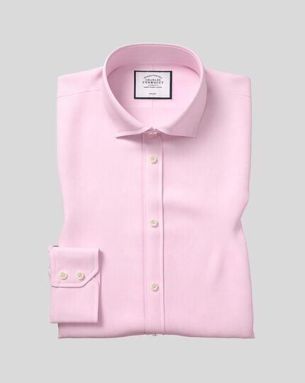 Extra slim fit cutaway non-iron twill pink shirt