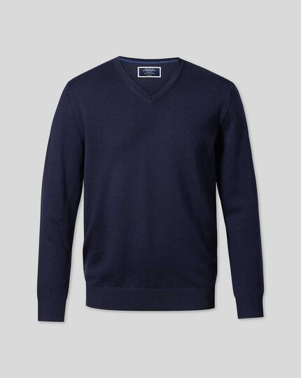 Merino V-neck Sweater - Navy