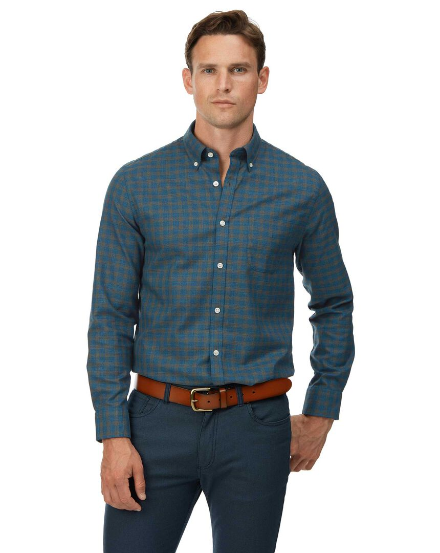 Extra slim fit teal check soft wash non-iron twill shirt