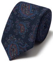 Navy multi paisley wool print luxury Italian tie