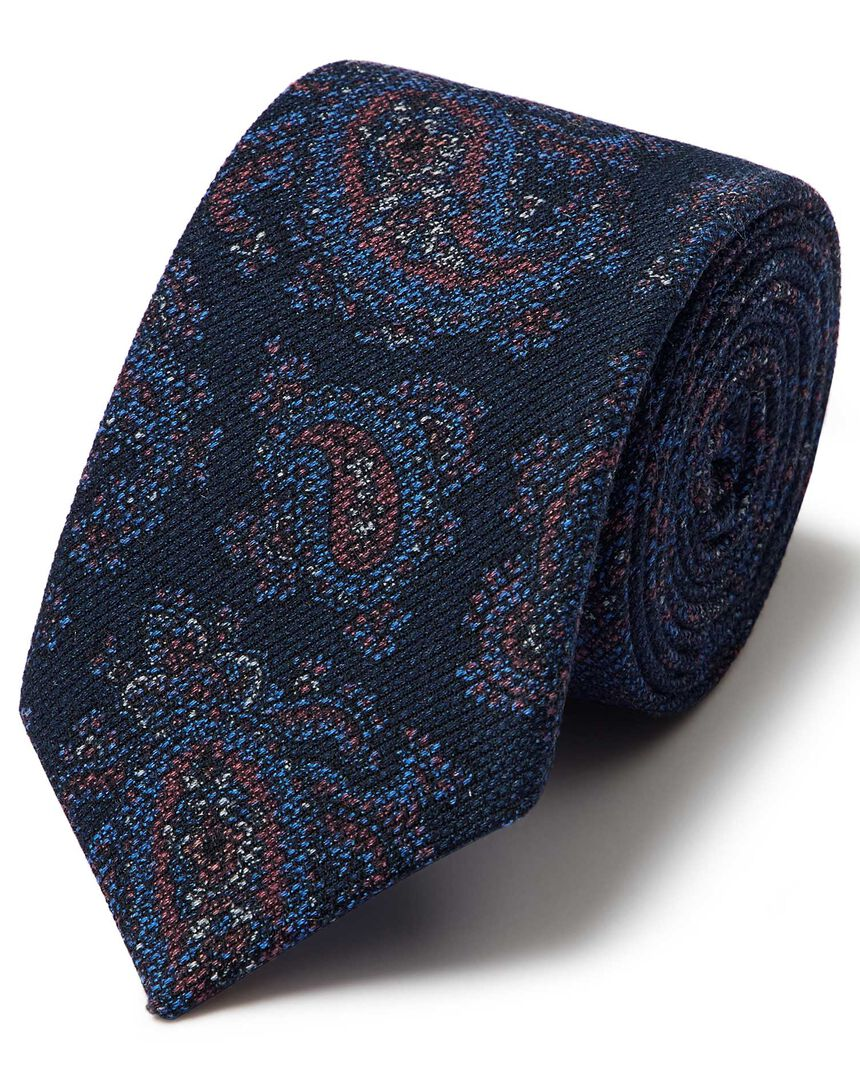 Navy paisley wool print luxury Italian tie