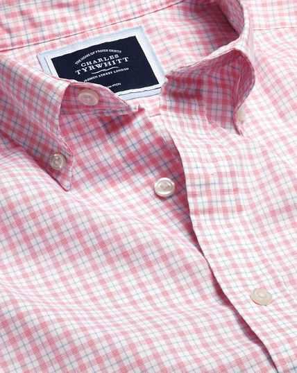 Bügelfreies Popeline-Hemd aus Stretchgewebe mit Button-down-Kragen und Karos - Korallenrot & Blau