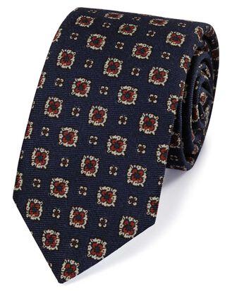 Luxuriöse italienische Woll-Krawatte in Marineblau und Rot mit Print