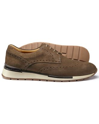 Tan suede wingtip Derby trainer
