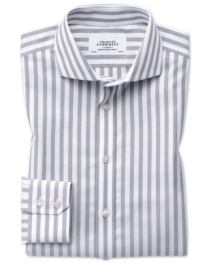 Extra slim fit spread collar non-iron wide stripe grey shirt