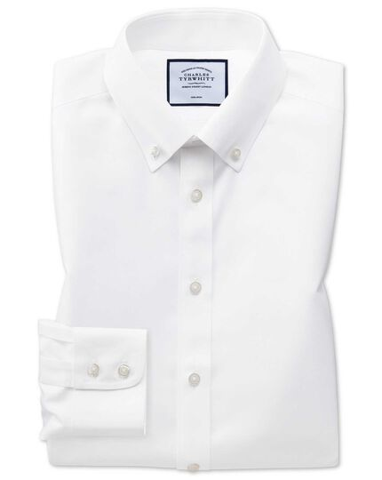 Extra slim fit white button-down collar non-iron twill shirt