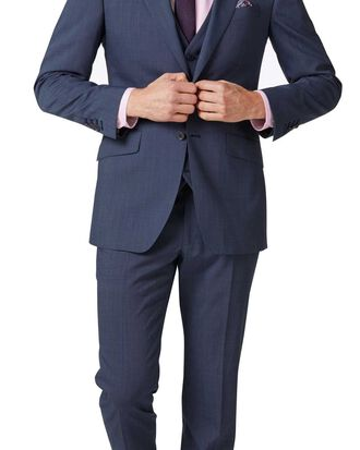 Light blue slim fit step weave suit