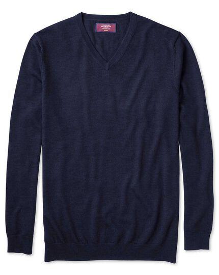 Pull bleu marine en soie et laine mérinos à col V