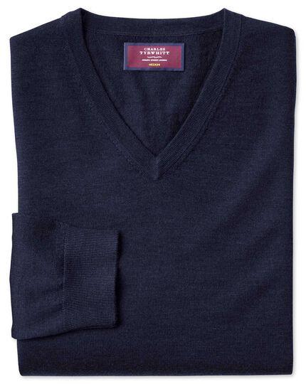 Navy merino silk v-neck jumper