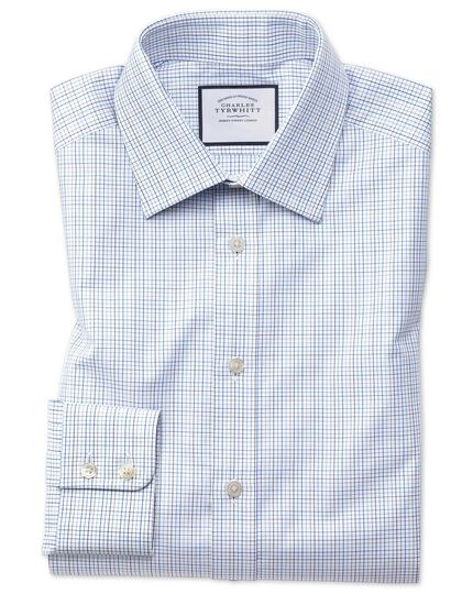 Slim fit blue multi check Egyptian cotton shirt
