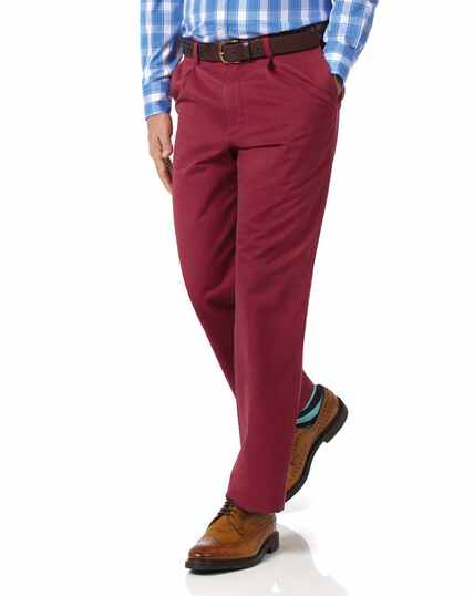 Red classic fit single pleat washed chinos