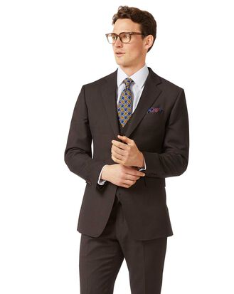 Brown slim fit birdseye travel suit jacket