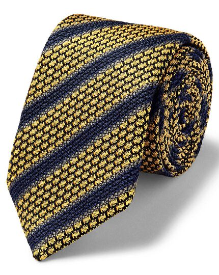 Yellow and navy luxury Italian grenadine stripe tie
