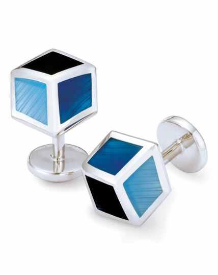 Blue tonal enamel cube cufflinks