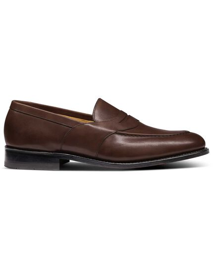 Chocolate Goodyear welted saddle loafer