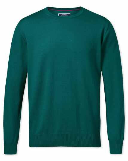 Pullover aus Merinowolle mit Rundhalsausschnitt in Blaugrün
