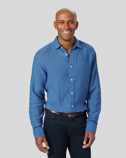 Linen Shirt - Bright Blue