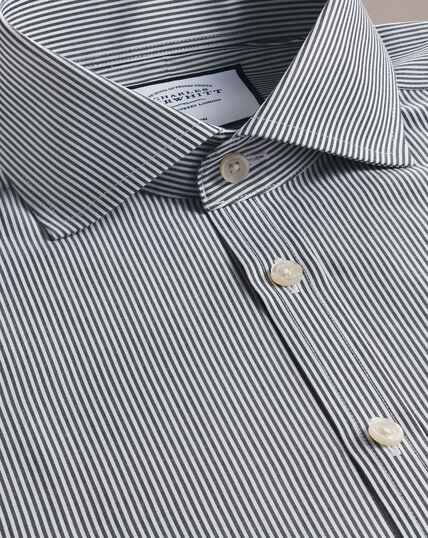 Non-Iron Spread Collar Bengal Stripe Shirt - Black
