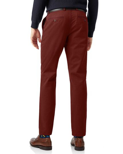 Rust flat front soft washed chinos