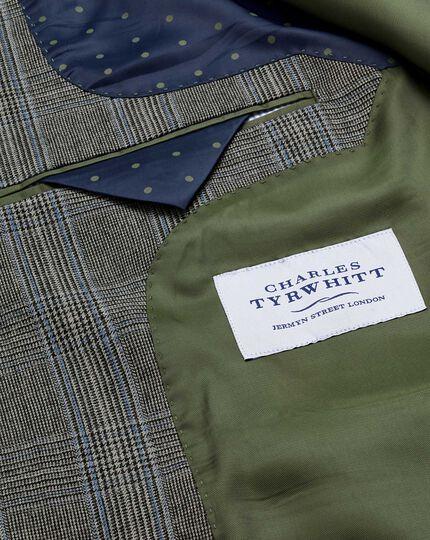 Veste de costume business argent Prince de Galles slim fit en flanelle avec boutonnage double