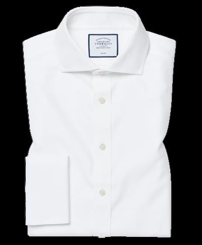 Extra slim fit cutaway collar non-iron Buckingham weave white shirt