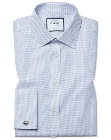 Classic fit non-iron dash weave blue shirt