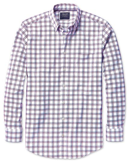 Classic fit red and navy check washed Oxford shirt