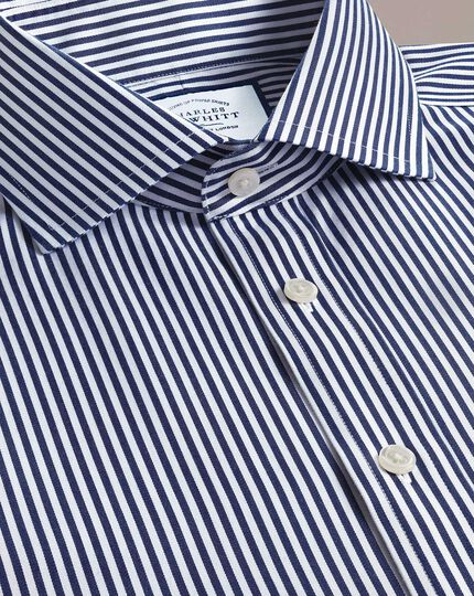 Chemise bleu marine en twill à rayures et col cutaway extra slim fitsans repassage