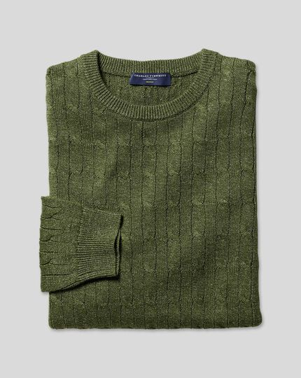 Merino Linen Cable Knit Crew Neck Jumper - Olive