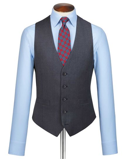 Gilet de costume business bleu acier en twill coupe ajustable