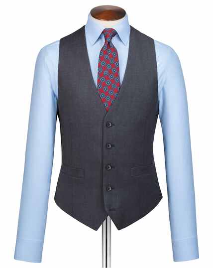 Steel blue adjustable fit twill business suit waistcoat