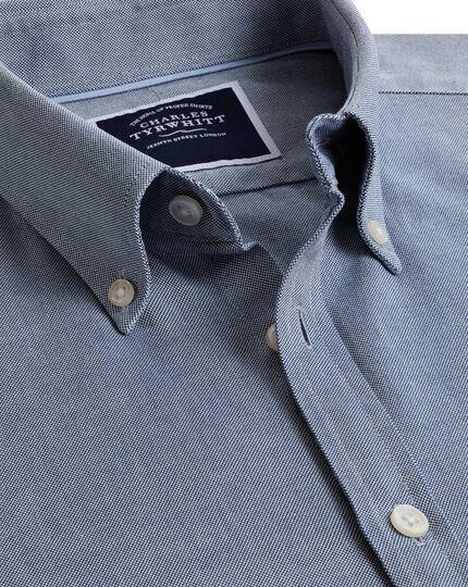 Extra slim fit button-down washed Oxford plain denim blue shirt