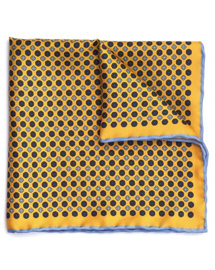 Gold and blue silk mini floral printed pocket square