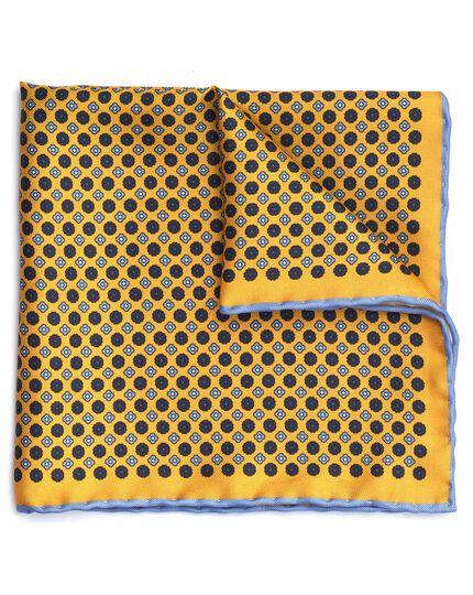 Einstecktuch aus Seide mit kleinem Blumenmuster in Gold und Blau