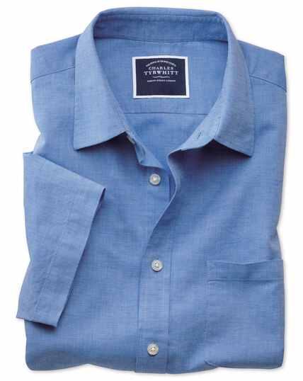 Classic fit cotton linen short sleeve bright blue plain shirt
