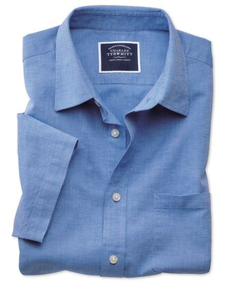 Slim fit cotton linen short sleeve bright blue plain shirt