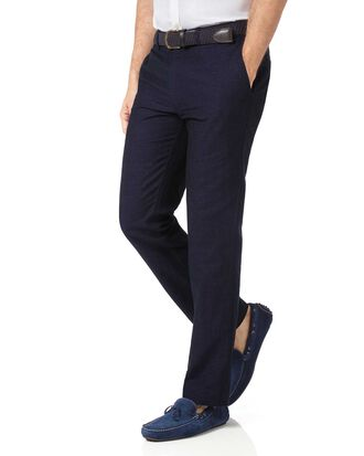 Navy slim fit cotton linen trousers