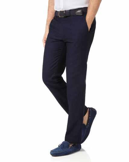 Navy slim fit cotton linen pants