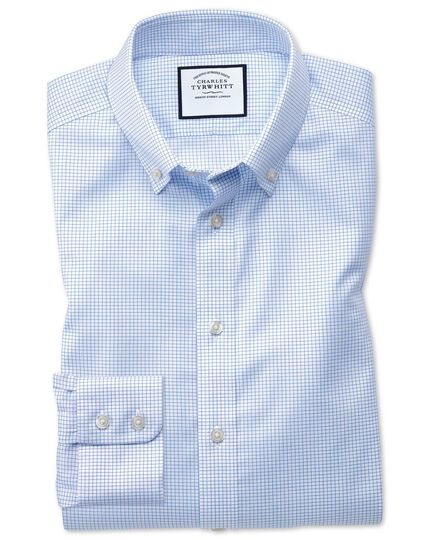 Slim fit button-down non-iron twill mini grid check sky blue shirt
